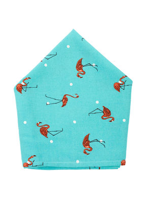 Brocode Classic Mens  Pastel Aqua Green Flamingo Paradise Print Pocket Square