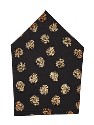 Brocode Classic Mens Premium Black and  Gold Wedding Collection Pocket Square