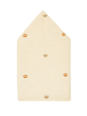 Brocode Classic Mens Premium Beige with Crown Print Pocket Square