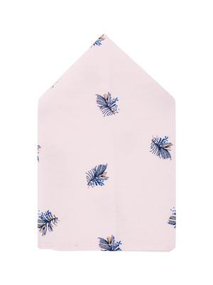 Brocode Classic Mens Premium Light Pink with Blue Leaf Print Pocket Square