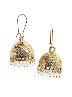 Fida Ethnic Indian Traditional Gold Jhumka Earrings For Women