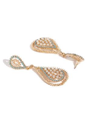 Gold-Toned Stone Studded Geometric Drop Earrings