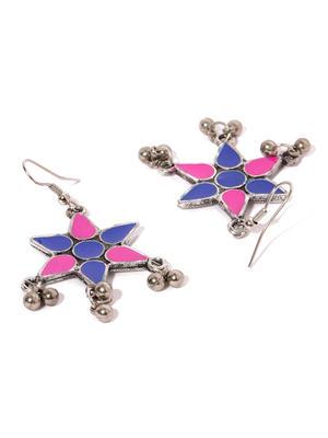 Multicoloured Geometric Embellished Handcrafted Drop Earrings-ONESIZE-Multi