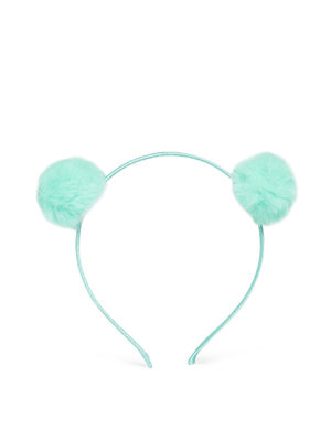 Plaful Mint Green Pom Pom Hair Band for girls