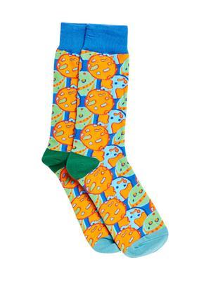 Bro Code Men Blue & Orange Patterned Above Ankle-Length Socks