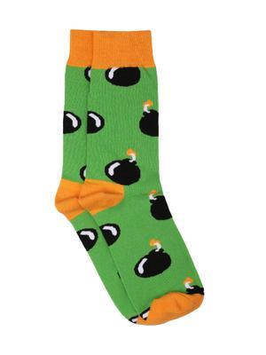 Bro Code Men Green & Black Above Ankle-Length Patterned Socks