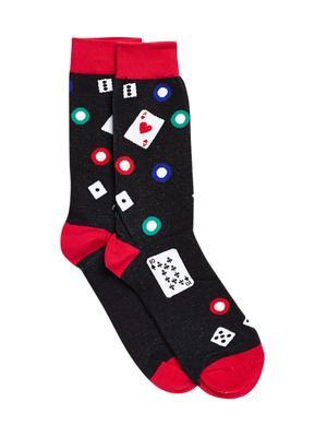 Bro Code Men Black & Red Patterned Socks