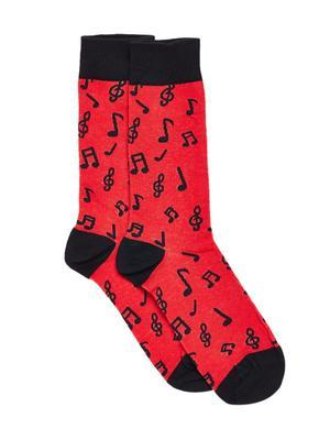 Bro Code Men Red & Black Patterned Socks