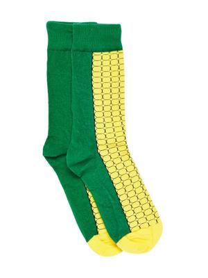 Bro Code Men Yellow & Green Patterned Above Ankle Length Socks