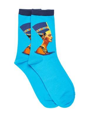 Bro Code Men Blue Patterned Above Ankle Length Socks