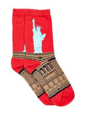 Bro Code Men Red & Brown Patterned Above Ankle Length Socks