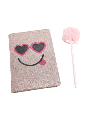 Set of Glitter Notebook with Fluffy Pen