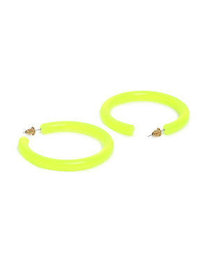 ToniQ Acylic Neon Green Hoop Earring For Women