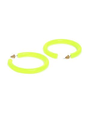 ToniQ Acylic Neon Green Hoop Earring For Women