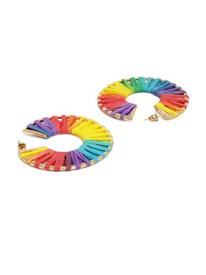 ToniQ Multicolored Raffia Hoop Earring For Women
