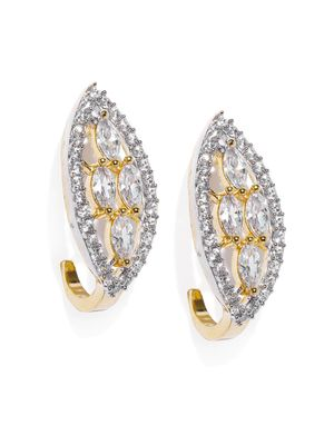 Gold-Toned Leaf Shaped Studs For Women