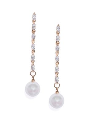 Gold-Toned & White Contemporary Drop Earrings For Women