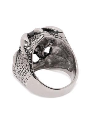 Men Silver-Toned Skull Shaped Finger Ring