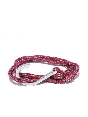Men Maroon Patterned Wrap-Around Bracelet