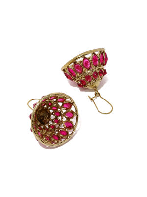 Gold-Toned & Pink Stone-Studded Jhumka Earrings
