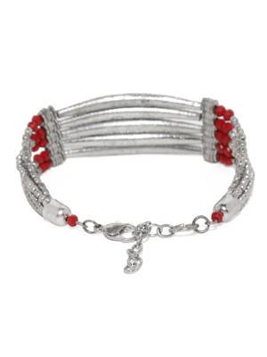 Silver-Toned  Maroon Bar Bracelet