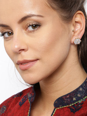 Gold-Toned White Geometric Studs