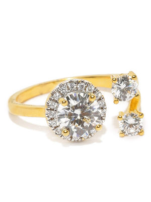 Gold Plated Crossroad Stone Studded Open Ring