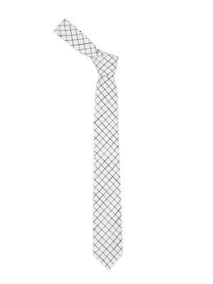 White Checked Tie