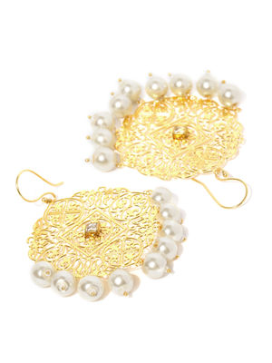 Gold-Toned White Contemporary Drop Earrings