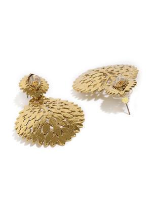 Gold-Toned Leaf Shaped Drop Earrings