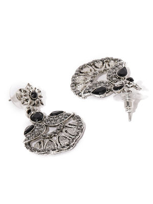 Silver-Toned Black Floral Drop Earrings