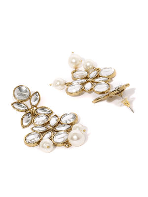 Gold-Toned Artificial Stone-Studded Floral Drop Earrings
