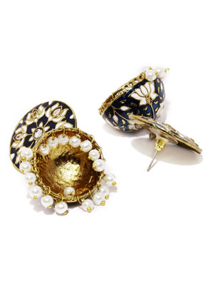 Blue White Dome Shaped Jhumkas