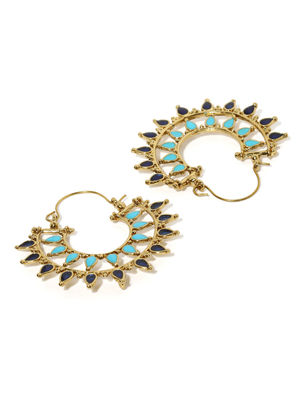 Gold-Toned Blue Crescent-Shaped Handcrafted Hoop Earrings