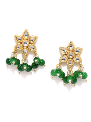 Green Gold-Toned Floral Drop Earrings