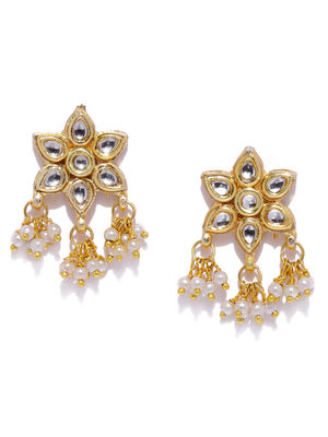 Women Gold-Toned Floral Drop Earrings