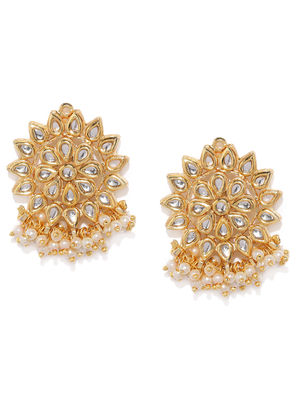Gold-Toned Floral Drop Earrings