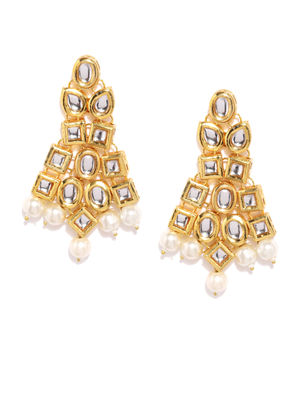 Gold-Toned White Kundan Studded Drop Earrings