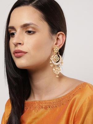 Gold-Toned Crescent Shaped Chandbalis