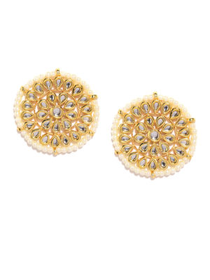 Gold-Toned White Circular Oversized Studs