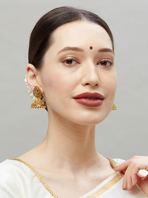 Ethnic Indian Traditional Gold Jhumka Earrings For Women