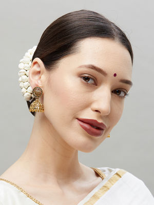 Ethnic Indian Traditional Gold Stone Embellished Jhumka Earrings For Women