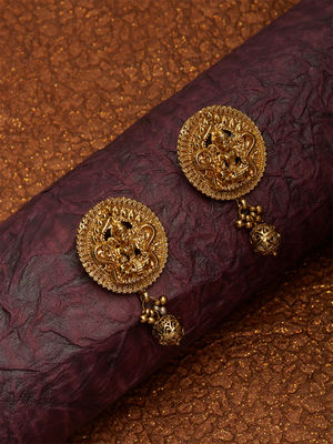 Ethnic Indian Traditional Gold Lakshmi Temple Stud Earrings For Women