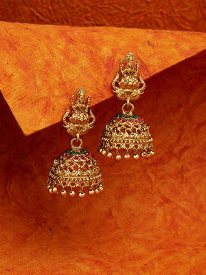 Ethnic Indian Traditional Gold Lakshmi Temple Red and Green Stone Jhumka Earrings for Women