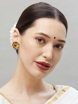 Ethnic Indian Traditional Gold Flower Shape Stud Earrings For Women