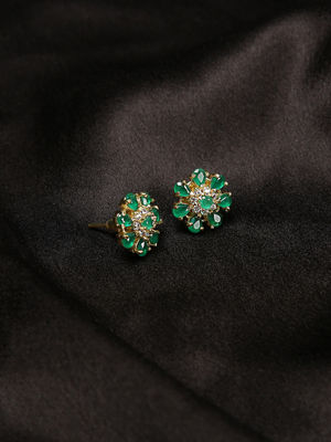 Green Orchid Studs