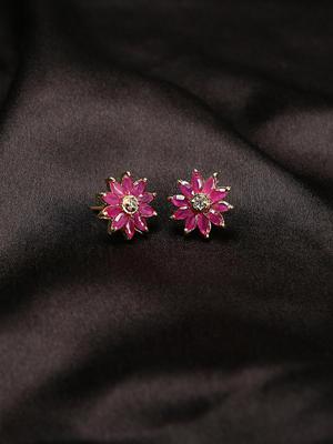 Pink Dahlia Studs