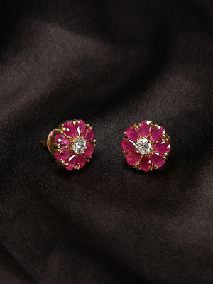 Gold-Plated Pink Cz Floral Stud Earring For Women