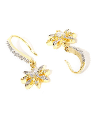 Gold-Plated Cz Floral Drop Earring For Women