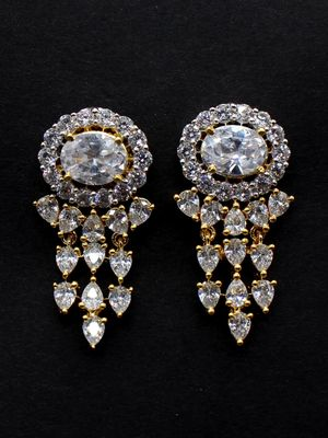 Gold Toned Cz Stone Studded Earring For Women